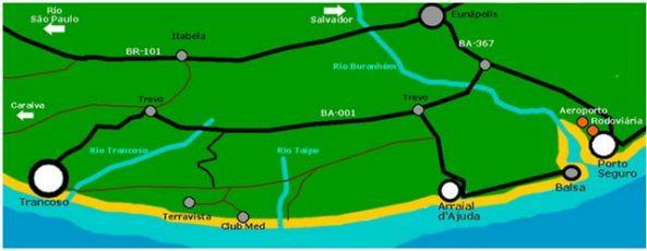 Mapa Porto Seguro x Trancoso