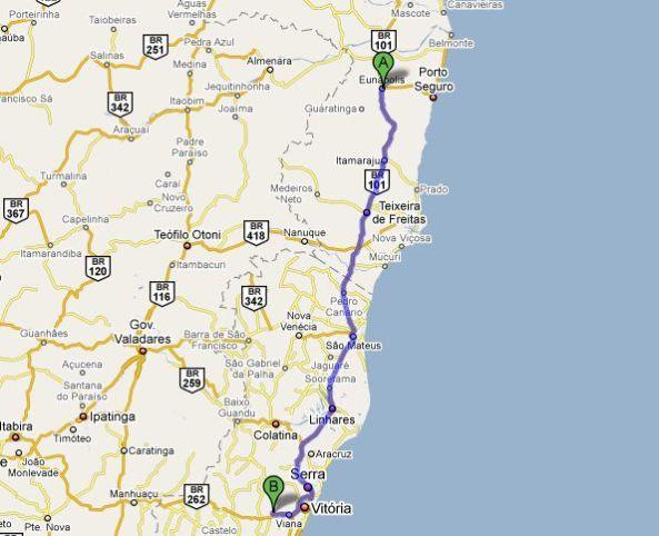 Distância prevista 578 Km