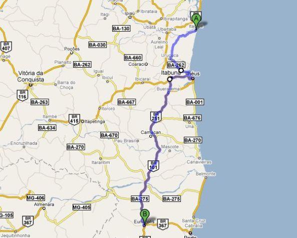 Distância prevista 350 Km