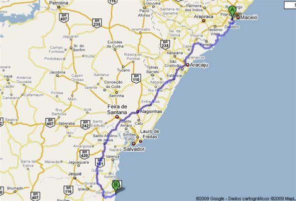 Distância prevista 860 KM